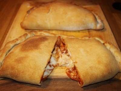 Mexican Chicken Calzone with Hot Salsa and Cheese Sauce