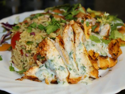 Mexican Chicken and Spicy Rice Salad with a Cool Minty Dressing