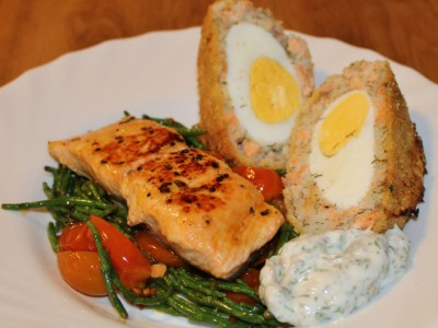 Pan Fried Salmon with Warm Samphire and Tomato Salad, a Salmon Scotch Egg and Dill and Caper Mayonnaise