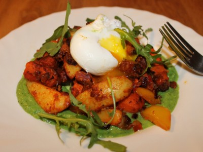 Poached Egg Topped Chorizo and Sweet Potato Hash with Broccoli and Pea Puree