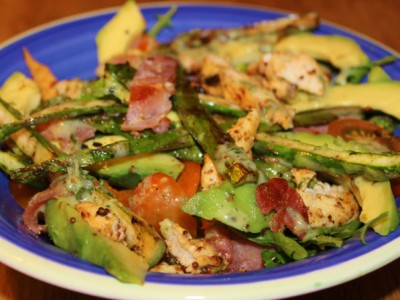 Chargrilled Chicken, Bacon, Asparagus and Avocado Salad with a Sticky Citrus Dressing
