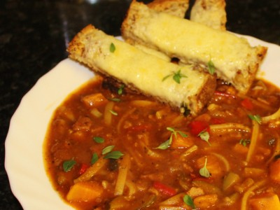 Mediterranean Vegetable and Red Pesto Minestrone Soup