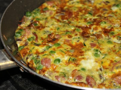Bacon, Pea and Courgette Frittata