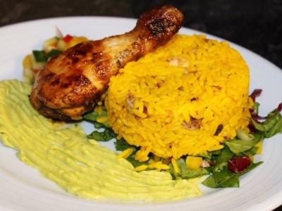 Cayenne Chilli Chicken Legs with Mango Salsa, Guacamole Cream and Rice Salad
