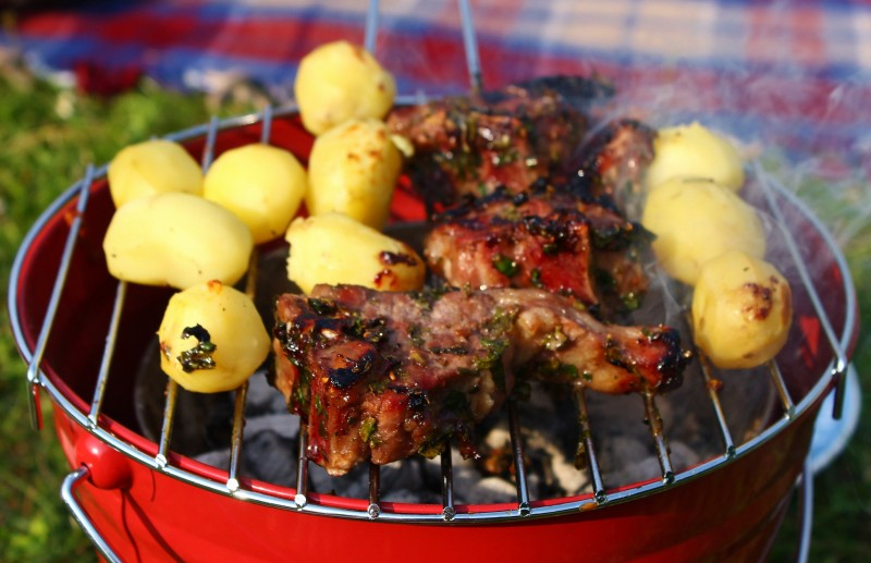 Sticky Mint and Raspberry BBQ Lamb Chops with Milk Soaked New Potatoes