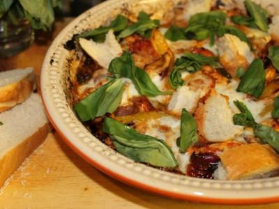 Leftover Roast Chicken, Mediterranean Vegetables and Mozzarella Bake