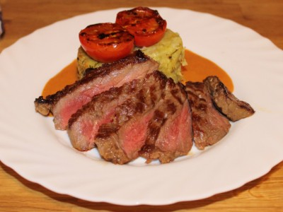 Steak with Courgette and Horseradish Mashed Potato and a Creamy Pink Peppercorn Sauce