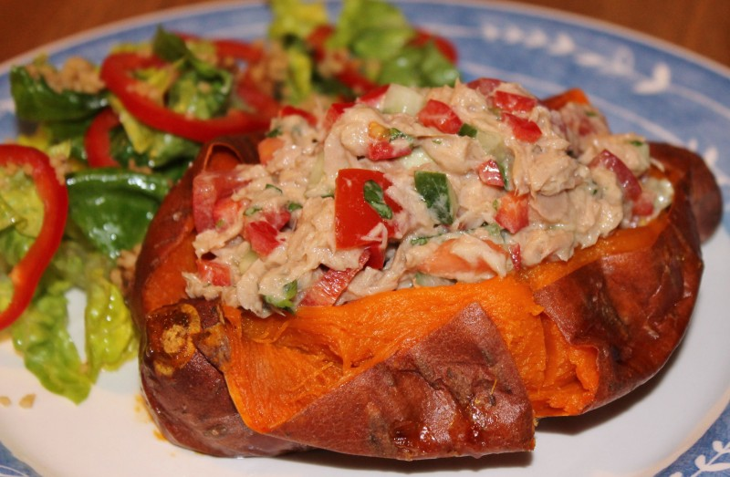 Baked Sweet Potatoes with a Thai Tuna Salad Filling