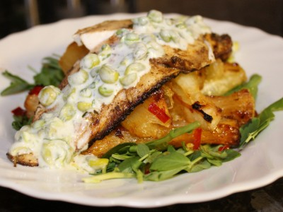 Jamaican Spiced Sea bass with Chilli Cassava Chips and Minted Pea Yoghurt