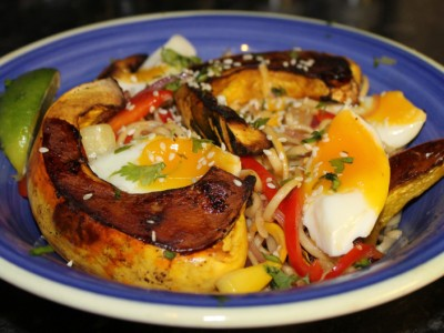 Sweet Chilli Noodles with Roasted Squash and Soft Boiled Egg