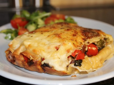 Homemade Roasted Mediterranean Vegetable & Feta Cheese Cannelloni