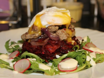 Griddled Steak Strips with Beetroot Rosti's and a Rocket and Horseradish Salad, Topped with a Poached Egg