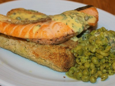 Posh Fish and Chips – Pan Fried Salmon with Broccoli and Potato Croquets, Crushed Minted Peas and a Caper and Parsley Mayonnaise