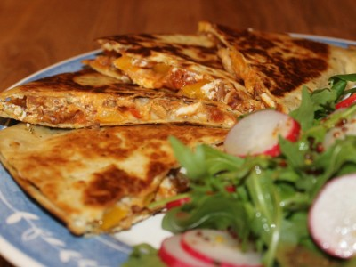 Barbecue Chicken & Sour Cream Cheese Quesadillas