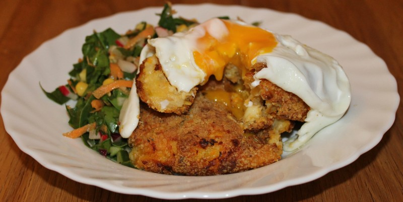 Cheddar Cheesy Sweet Potato Fish Cakes with a Chop Chop Salad