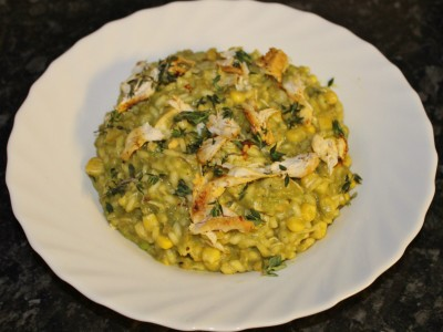 Chicken, Smoked Garlic and Pea Risotto