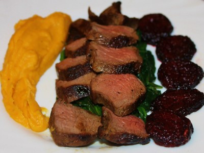 Venison Steak with Port and Chocolate Sauce, Butternut Squash Puree, Roasted Beets and Garlic Spinach