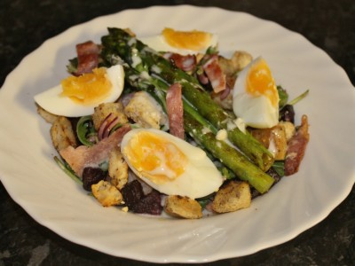 My Mega Salad – Bacon, Beetroot, Rocket and Asparagus, with a Zingy Horseradish Dressing, Croutons and a Boiled Egg