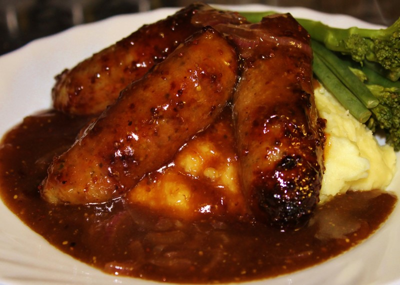 Honey & Mustard Sticky Sausages and Mash with Caramelised Red Onion Gravy
