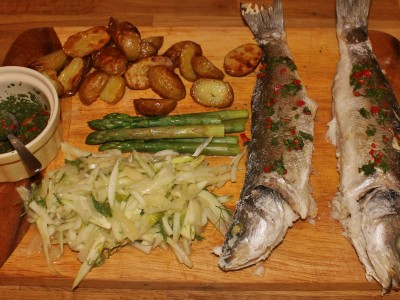 Salt Baked Sea Bass with a Fennel and Pear Salad, and a Chilli, Lime and Coriander Dressing