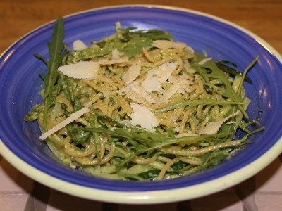 Green Pesto Spaghetti with Rocket, Cucumber Noodles and Parmesan Shavings