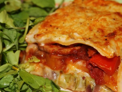 Roasted Squash and Red Pepper Lasagne, Layered with Creamy Summer Greens