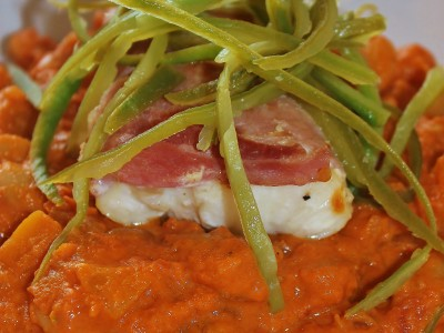 Baked Cod Wrapped in Bacon, Served with a Creamy Squash and Bean Casserole and Home-Grown Runner Beans