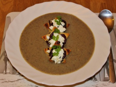 Mushroom Soup with Mini Caramelised Onion and Goats Cheese Toasts