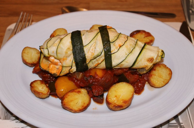 Goats Cheese & Chive Stuffed Chicken Breast, Wrapped in Courgette Ribbons and Served with Ratatouille and Roasted Baby Potatoes