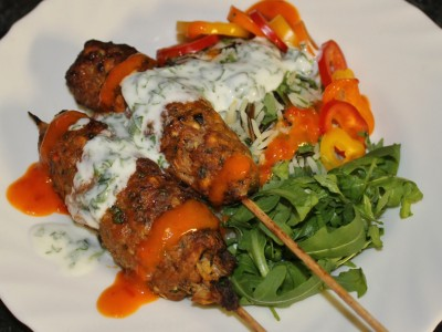 Spicy Lamb & Carrot Kofta's with a Mixed Herb Rice Salad, Minted Yoghurt and a Chilli & Garlic Sauce