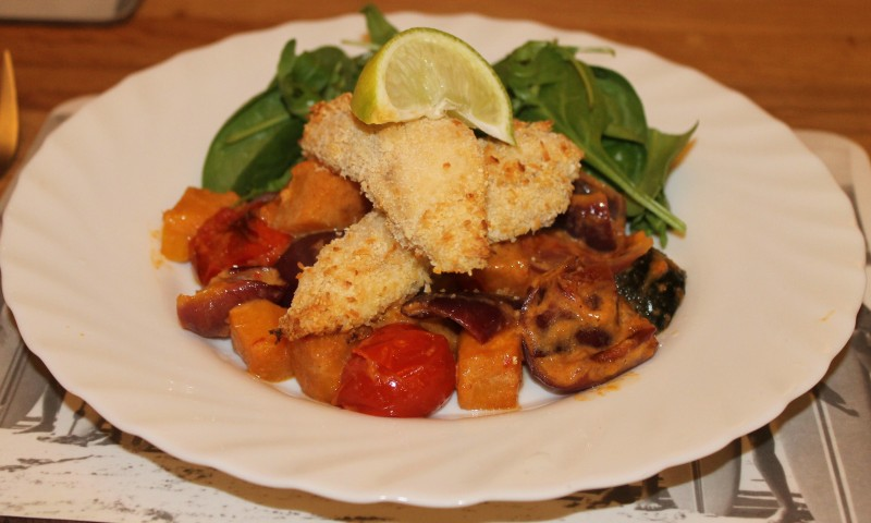 Crispy Coconut Chicken with Thai Roasted Vegetables