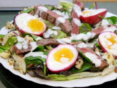 Steak, Blue Cheese, Pear, Walnut and Beetroot Pickled Egg Salad
