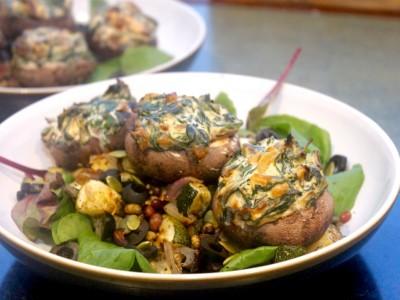 Spinach & Ricotta Stuffed Mini Portobello Mushrooms with a Mixed Bean and Roasted Vegetable Salad