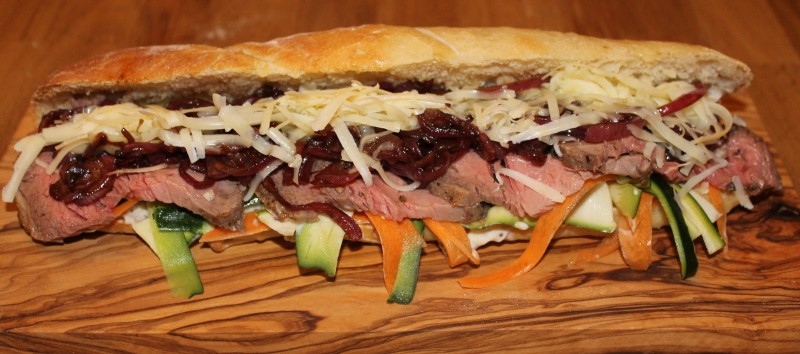 Roast Beef Baguette with Wholegrain Mustard Mayonnaise, Crunchy Salad and Topped with Caramelised Onions and Mature Cheddar Cheese
