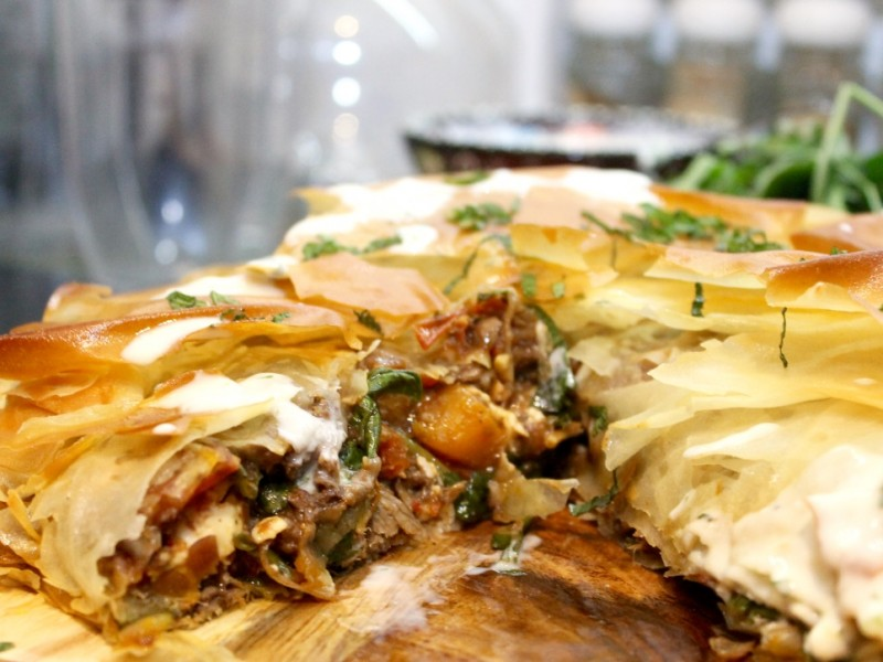 Roast Lamb, Feta, Squash and Mediterranean Vegetable Filo Pie served with a Honey and Mint Yoghurt