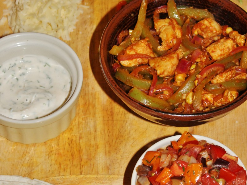 Chicken Fajitas with Roasted Aubergine Salsa
