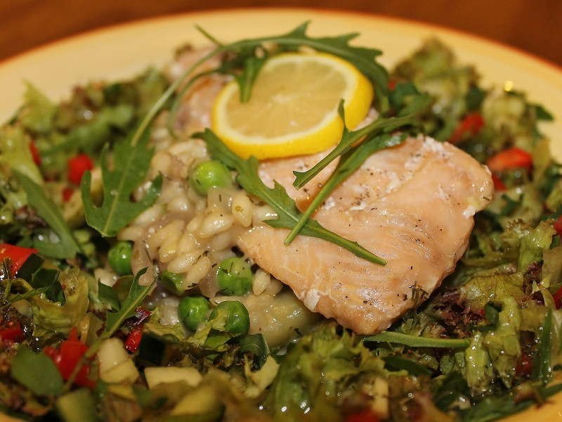 Roasted Salmon with Courgette and Pea Risotto and a Mixed Herb Salad