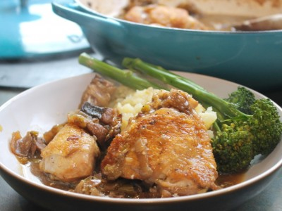 Chicken and Chestnut Mushroom Casserole, Served with Crushed Truffle Potatoes