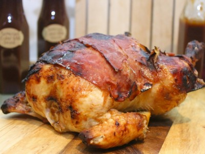 Sticky Barbeque Roast Chicken with Crispy Pancetta