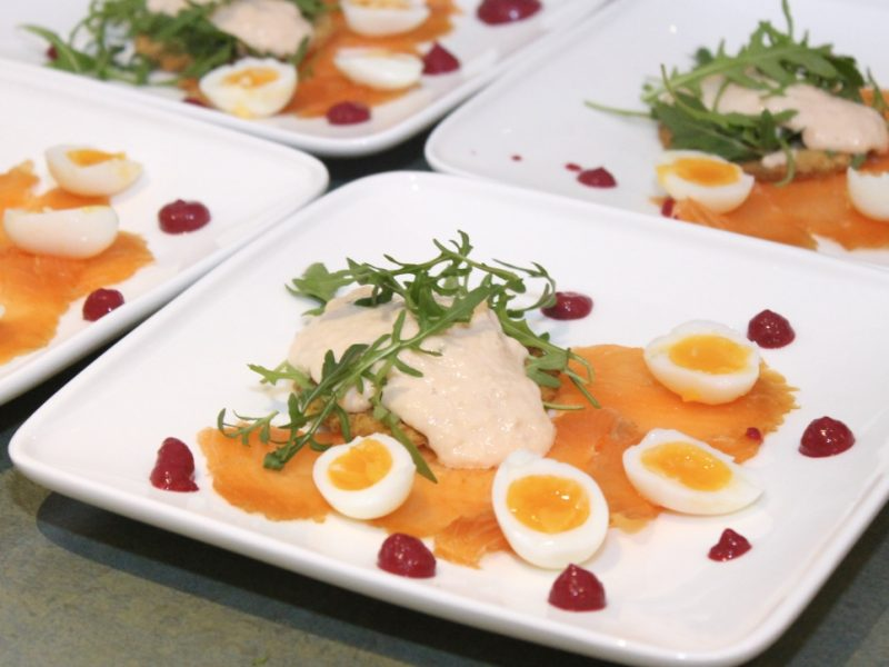 Loch Lomond Smoked Salmon with Horseradish and Salmon Cream, Beetroot Puree, Quails Eggs and Truffle Toasts