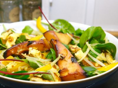 Miso Marinated Tofu with and Omelette and Beansprout Salad