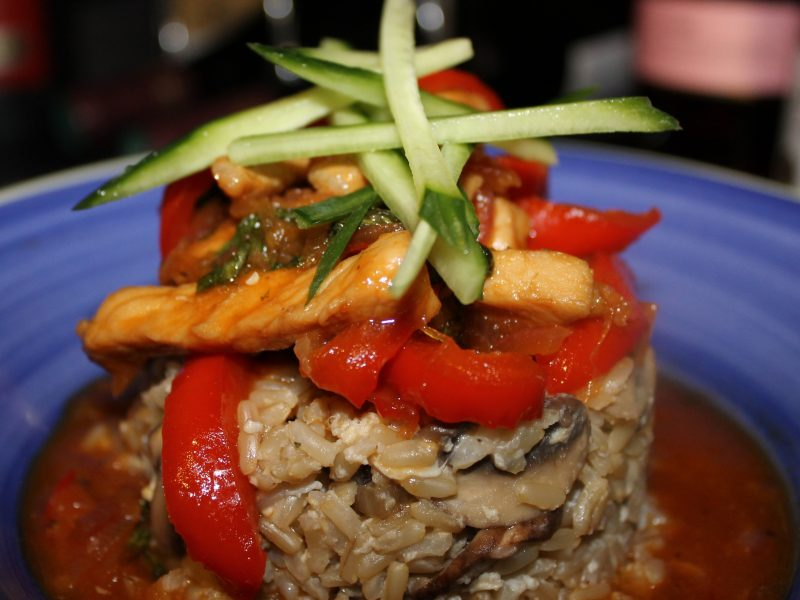 Ginger & Sweet Chilli Pork with Sticky Mushroom Rice