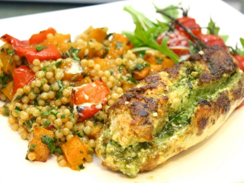 Garlic and Fresh Herb Stuffed Chicken with a Giant Moroccan Spiced Cous cous and a Zingy Herb Dressing