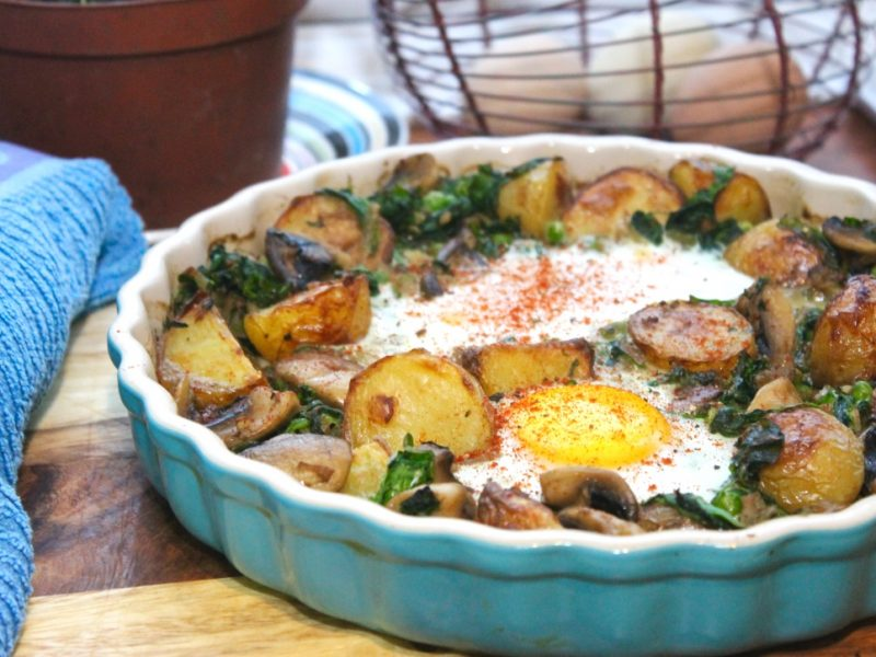 Baked Eggs with Mushrooms, Spinach, Kale and Crispy Roast Potatoes