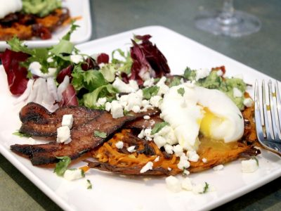 Sweet Potato and Smokey Bacon Waffles Topped with Crispy Bacon, Avocado, Feta and a Poached Egg