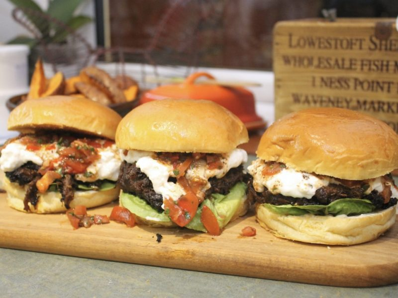 Braised Lamb Shoulder Burgers with Feta Sauce & Aleppo Chilli Relish