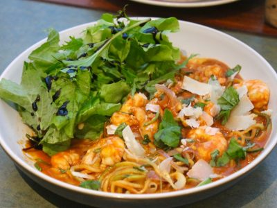 Prawn Courgetti with a Red Pepper Sauce