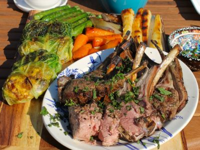Red Wine Soaked Rack of Lamb with Honeyed Roots and Squash and Feta Stuffed Cabbage Leaves