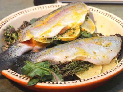 Lemon & Thyme Stuffed Trout, Served with Beetroot Potato Salad and Crispy Purple Sprouting Broccoli
