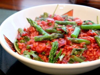 Asparagus, Beetroot & Blue Cheese Risotto